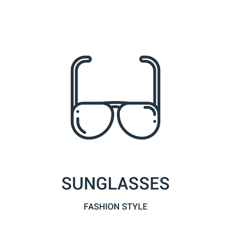 sunglasses icon vector from fashion style collection. Thin line sunglasses outline icon vector illustration. Linear symbol for use on web and mobile apps, logo, print media.
