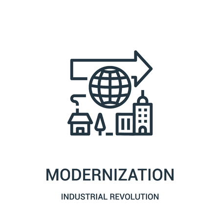 modernization icon vector from industrial revolution collection. Thin line modernization outline icon vector illustration. Linear symbol for use on web and mobile apps, logo, print media.