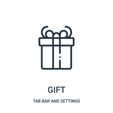 gift icon vector from tab bar and settings collection. Thin line gift outline icon vector illustration. Linear symbol for use on web and mobile apps, logo, print media.