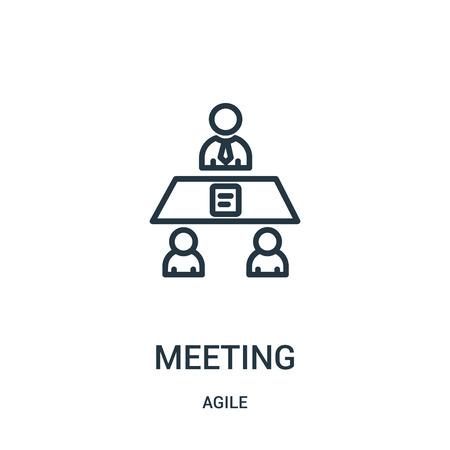 meeting icon vector from agile collection. Thin line meeting outline icon vector illustration. Linear symbol for use on web and mobile apps, logo, print media.