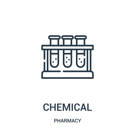 chemical icon vector from pharmacy collection. Thin line chemical outline icon vector illustration. Linear symbol for use on web and mobile apps, logo, print media. Ilustração