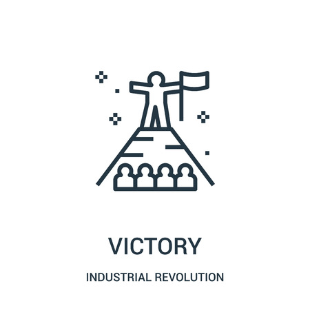 victory icon vector from industrial revolution collection. Thin line victory outline icon vector illustration. Linear symbol for use on web and mobile apps, logo, print media. Ilustração