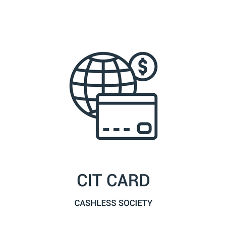 credit card icon vector from cashless society collection. Thin line credit card outline icon vector illustration. Linear symbol for use on web and mobile apps, logo, print media.