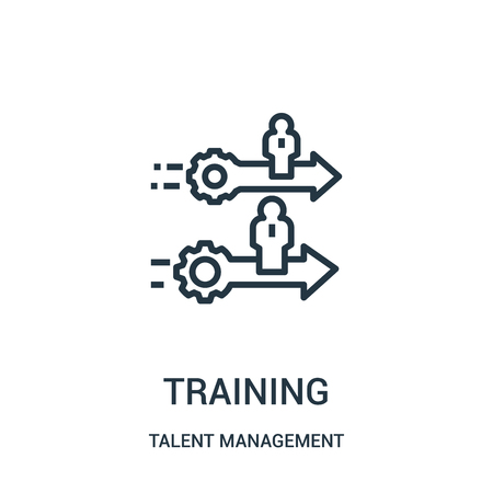training icon vector from talent management collection. Thin line training outline icon vector illustration. Linear symbol for use on web and mobile apps, logo, print media.