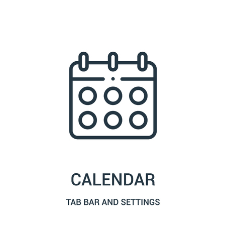 calendar icon vector from tab bar and settings collection. Thin line calendar outline icon vector illustration. Linear symbol for use on web and mobile apps, logo, print media.