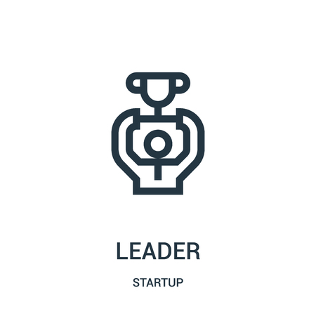 leader icon vector from startup collection. Thin line leader outline icon vector illustration. Linear symbol for use on web and mobile apps, logo, print media.