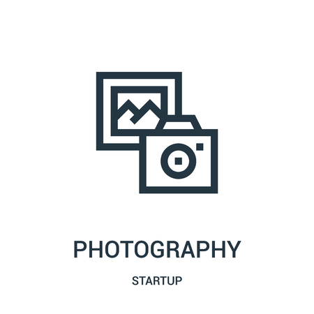photography icon vector from startup collection. Thin line photography outline icon vector illustration. Linear symbol for use on web and mobile apps, logo, print media.