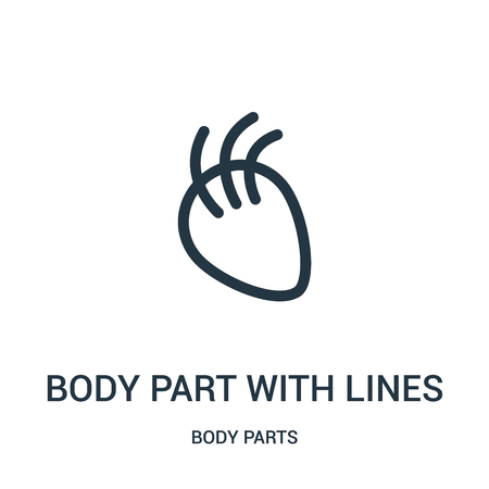 body part with lines icon vector from body parts collection. Thin line body part with lines outline icon vector illustration. Linear symbol for use on web and mobile apps, logo, print media. Ilustração