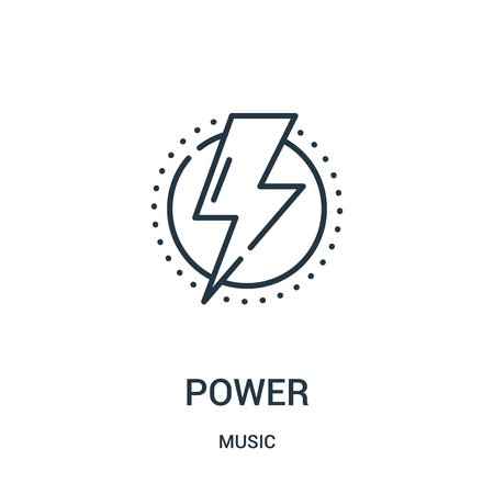 power icon vector from music collection. Thin line power outline icon vector illustration. Linear symbol for use on web and mobile apps, logo, print media.