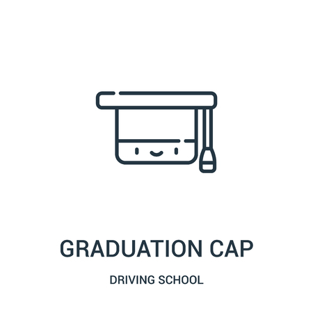 graduation cap icon vector from driving school collection. Thin line graduation cap outline icon vector illustration. Linear symbol for use on web and mobile apps, logo, print media.
