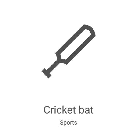 cricket bat icon vector from sports collection. Thin line cricket bat outline icon vector illustration. Linear symbol for use on web and mobile apps, logo, print media