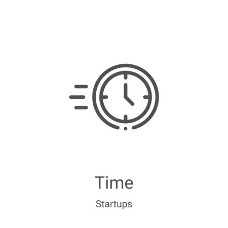 time icon vector from startups collection. Thin line time outline icon vector illustration. Linear symbol for use on web and mobile apps, logo, print media