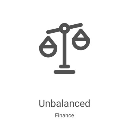 unbalanced icon vector from finance collection. Thin line unbalanced outline icon vector illustration. Linear symbol for use on web and mobile apps, logo, print media Çizim