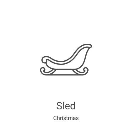 sled icon vector from christmas collection. Thin line sled outline icon vector illustration. Linear symbol for use on web and mobile apps, logo, print media