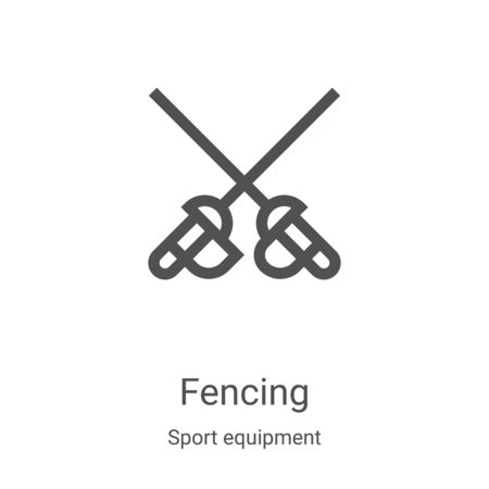 fencing icon vector from sport equipment collection. Thin line fencing outline icon vector illustration. Linear symbol for use on web and mobile apps, logo, print media Illustration