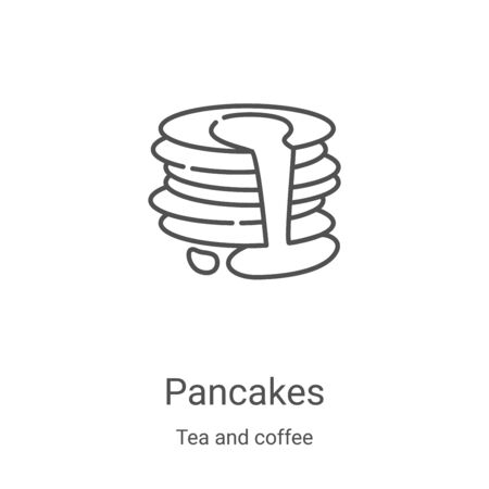 pancakes icon vector from tea and coffee collection. Thin line pancakes outline icon vector illustration. Linear symbol for use on web and mobile apps, logo, print media