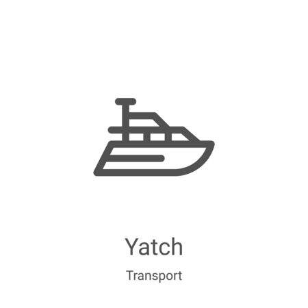 yatch icon vector from transport collection. Thin line yatch outline icon vector illustration. Linear symbol for use on web and mobile apps, logo, print media Vettoriali