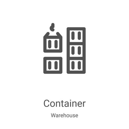 container icon vector from warehouse collection. Thin line container outline icon vector illustration. Linear symbol for use on web and mobile apps, logo, print media