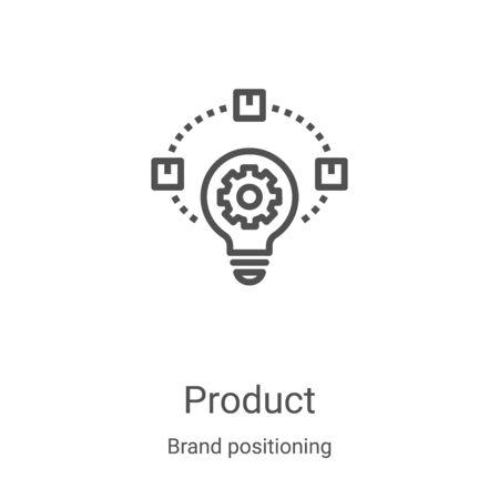 vector de icono de producto de la colección de posicionamiento de marca. Ilustración de vector de icono de contorno de producto de línea delgada. Símbolo lineal para usar en aplicaciones web y móviles, logotipo, medios impresos