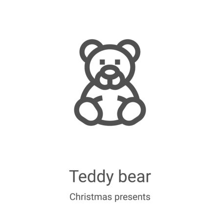 teddy bear icon vector from christmas presents collection. Thin line teddy bear outline icon vector illustration. Linear symbol for use on web and mobile apps, logo, print media