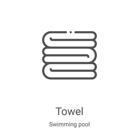 vector de icono de toalla de colección de piscina. Ilustración de vector de icono de contorno de toalla de línea delgada. Símbolo lineal para usar en aplicaciones web y móviles, logotipo, medios impresos Logos