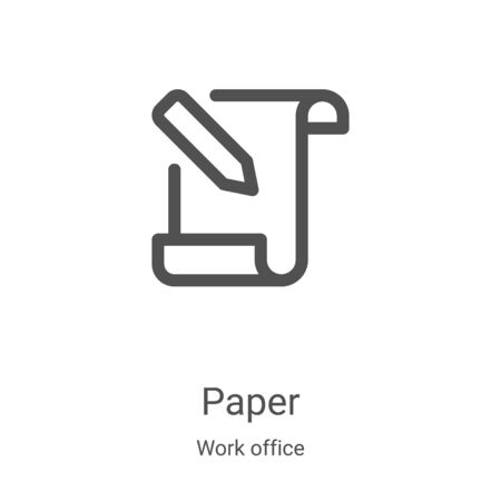 paper icon vector from work office collection. Thin line paper outline icon vector illustration. Linear symbol for use on web and mobile apps, logo, print media