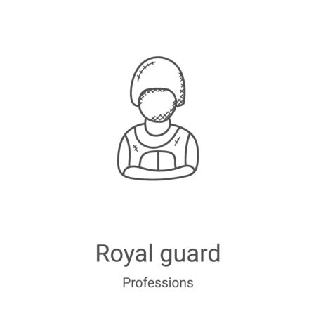royal guard icon vector from professions collection. Thin line royal guard outline icon vector illustration. Linear symbol for use on web and mobile apps, logo, print media Illustration