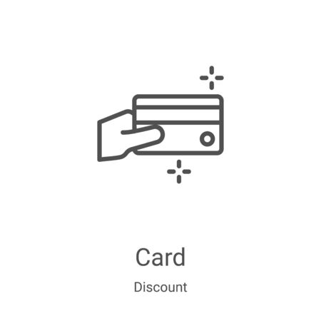 card icon vector from discount collection. Thin line card outline icon vector illustration. Linear symbol for use on web and mobile apps, logo, print media Vectores