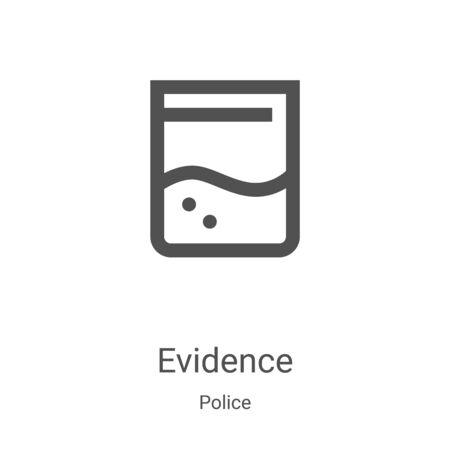 evidence icon vector from police collection. Thin line evidence outline icon vector illustration. Linear symbol for use on web and mobile apps, logo, print media Ilustração