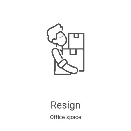 resign icon vector from office space collection. Thin line resign outline icon vector illustration. Linear symbol for use on web and mobile apps, logo, print media