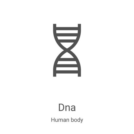 dna icon vector from human body collection. Thin line dna outline icon vector illustration. Linear symbol for use on web and mobile apps, logo, print media