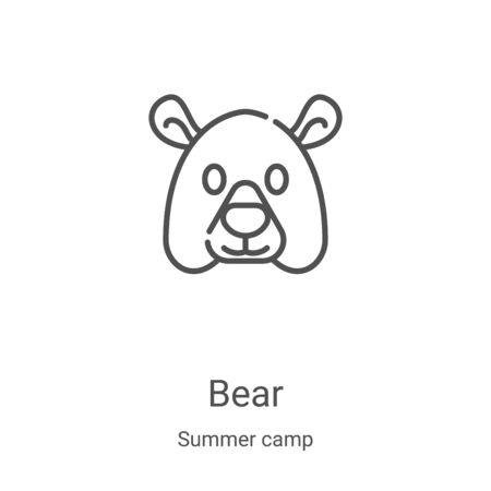 bear icon vector from summer camp collection. Thin line bear outline icon vector illustration. Linear symbol for use on web and mobile apps, logo, print media