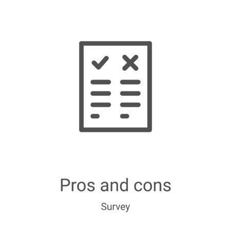 pros and cons icon vector from survey collection. Thin line pros and cons outline icon vector illustration. Linear symbol for use on web and mobile apps, logo, print media Stock Vector - 135560972