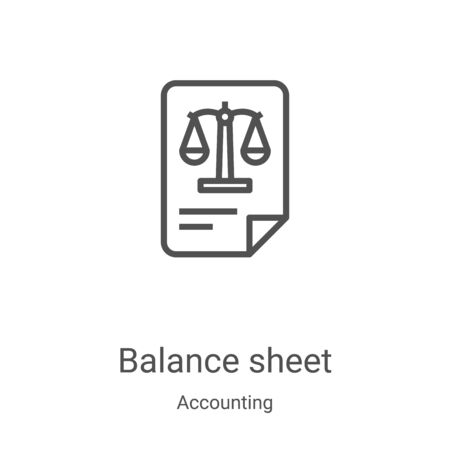 balance sheet icon vector from accounting collection. Thin line balance sheet outline icon vector illustration. Linear symbol for use on web and mobile apps, logo, print media