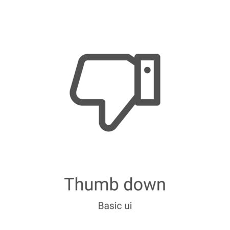 thumb down icon vector from basic ui collection. Thin line thumb down outline icon vector illustration. Linear symbol for use on web and mobile apps, logo, print media