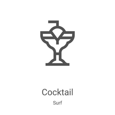 cocktail icon vector from surf collection. Thin line cocktail outline icon vector illustration. Linear symbol for use on web and mobile apps, logo, print media