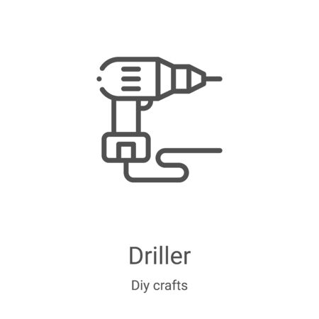 driller icon vector from diy crafts collection. Thin line driller outline icon vector illustration. Linear symbol for use on web and mobile apps, logo, print media  イラスト・ベクター素材