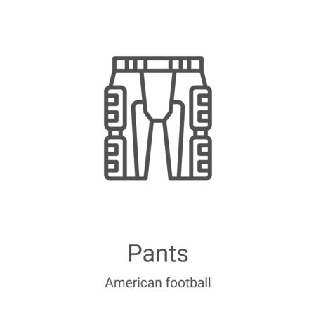 pants icon vector from american football collection. Thin line pants outline icon vector illustration. Linear symbol for use on web and mobile apps, logo, print media