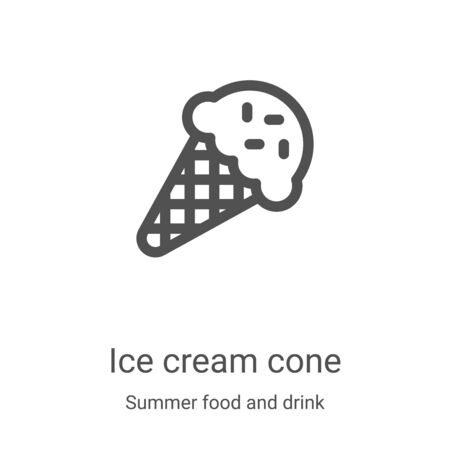 ice cream cone icon vector from summer food and drink collection. Thin line ice cream cone outline icon vector illustration. Linear symbol for use on web and mobile apps, logo, print media Illustration