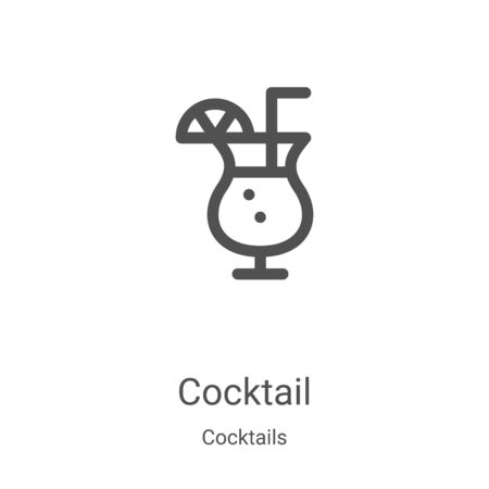 cocktail icon vector from cocktails collection. Thin line cocktail outline icon vector illustration. Linear symbol for use on web and mobile apps, logo, print media