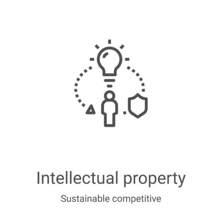 intellectual property icon vector from sustainable competitive advantage collection. Thin line intellectual property outline icon vector illustration. Linear symbol for use on web and mobile apps,