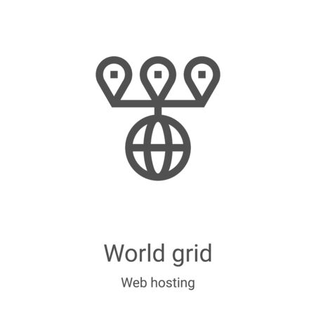 world grid icon vector from web hosting collection. Thin line world grid outline icon vector illustration. Linear symbol for use on web and mobile apps, logo, print media Illustration