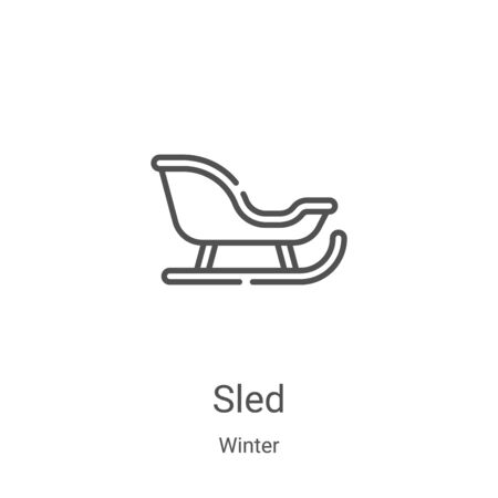 sled icon vector from winter collection. Thin line sled outline icon vector illustration. Linear symbol for use on web and mobile apps, logo, print media Illustration