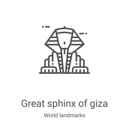 great sphinx of giza icon vector from world landmarks collection. Thin line great sphinx of giza outline icon vector illustration. Linear symbol for use on web and mobile apps, logo, print media Vettoriali