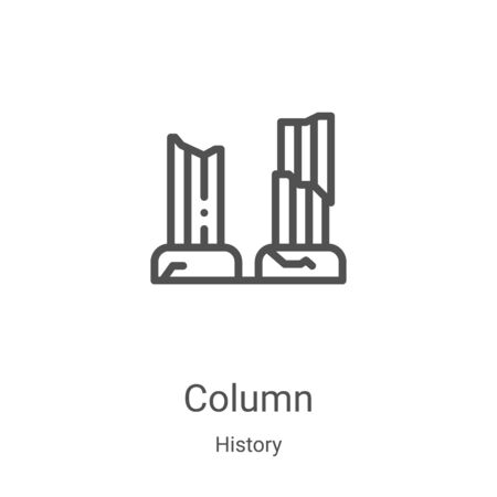 column icon vector from history collection. Thin line column outline icon vector illustration. Linear symbol for use on web and mobile apps, logo, print media Archivio Fotografico - 137158859