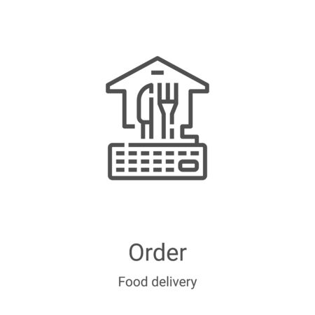 order icon vector from food delivery collection. Thin line order outline icon vector illustration. Linear symbol for use on web and mobile apps, logo, print media