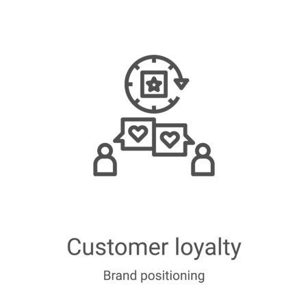 customer loyalty icon vector from brand positioning collection. Thin line customer loyalty outline icon vector illustration. Linear symbol for use on web and mobile apps, logo, print media