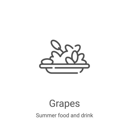 grapes icon vector from summer food and drink collection. Thin line grapes outline icon vector illustration. Linear symbol for use on web and mobile apps, logo, print media Ilustração
