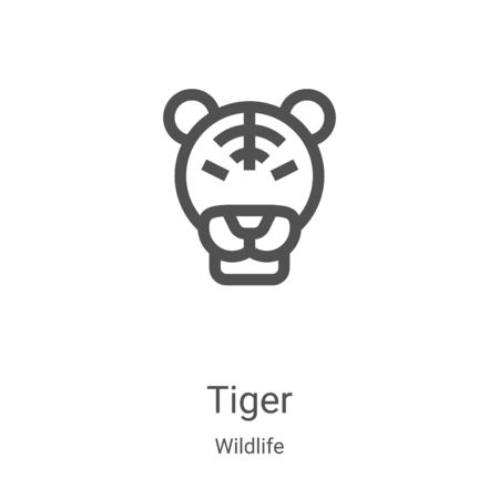tiger icon vector from wildlife collection. Thin line tiger outline icon vector illustration. Linear symbol for use on web and mobile apps, logo, print media