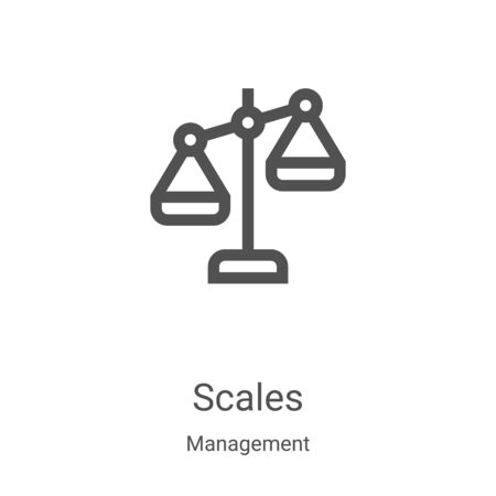 scales icon vector from management collection. Thin line scales outline icon vector illustration. Linear symbol for use on web and mobile apps, logo, print media